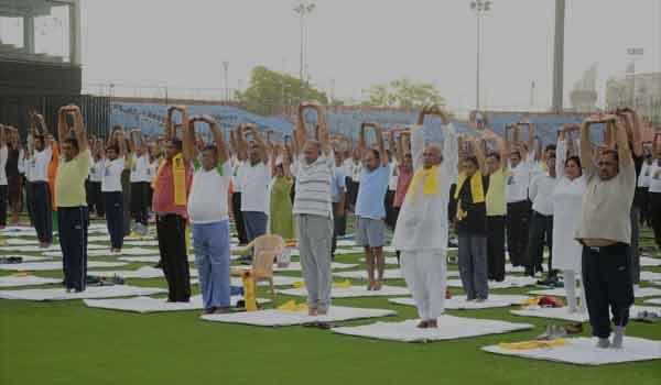 Yoga at SMS Stadium in Jaipur